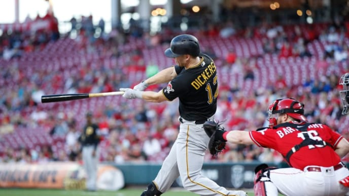 CINCINNATI, OH - SEPTEMBER 28: Corey Dickerson #12 of the Pittsburgh Pirates doubles to drive in a run in the first inning against the Cincinnati Reds at Great American Ball Park on September 28, 2018 in Cincinnati, Ohio. (Photo by Joe Robbins/Getty Images)