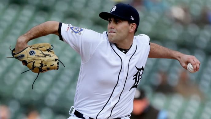 DETROIT, MI - APRIL 16:  Matthew Boyd #48 of the Detroit Tigers pitches against the Pittsburgh Pirates during the first inning at Comerica Park on April 16, 2019 in Detroit, Michigan. All players are wearing #42 in honor of Jackie Robinson Day. (Photo by Duane Burleson/Getty Images)