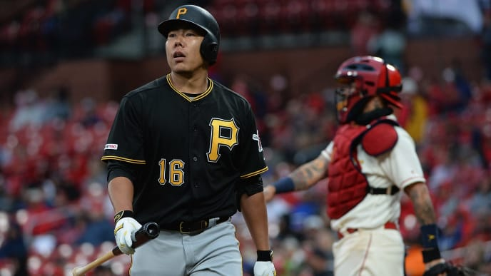 ST. LOUIS, MO - MAY 11: Jung Ho Kang #16 of the Pittsburgh Pirates reacts after striking out in the eighth inning of a game against the St. Louis Cardinals at Busch Stadium on May 11, 2019 in St. Louis, Missouri. (Photo by Michael B. Thomas /Getty Images)