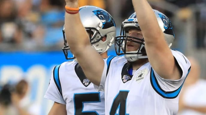CHARLOTTE, NORTH CAROLINA - AUGUST 29: Joey Slye #4 of the Carolina Panthers reacts after making a field goal against the Pittsburgh Steelers during their preseason game at Bank of America Stadium on August 29, 2019 in Charlotte, North Carolina. (Photo by Streeter Lecka/Getty Images)