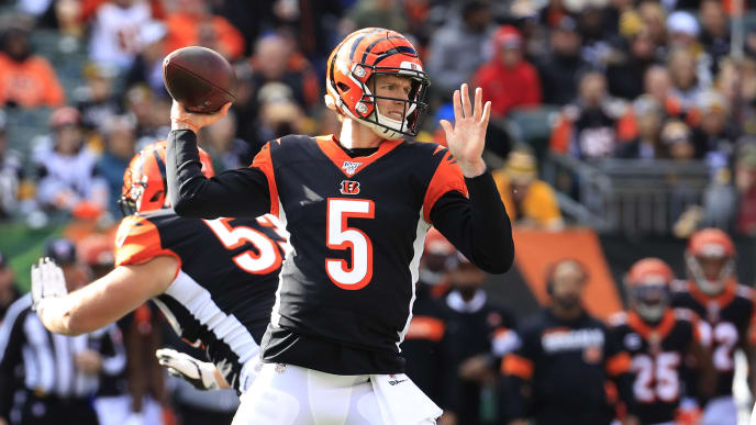 CINCINNATI, OHIO - NOVEMBER 24:  Ryan Finley #5 of the Cincinnati Bengals throws a pass against the Pittsburgh Steelers during the game at Paul Brown Stadium on November 24, 2019 in Cincinnati, Ohio. (Photo by Andy Lyons/Getty Images)
