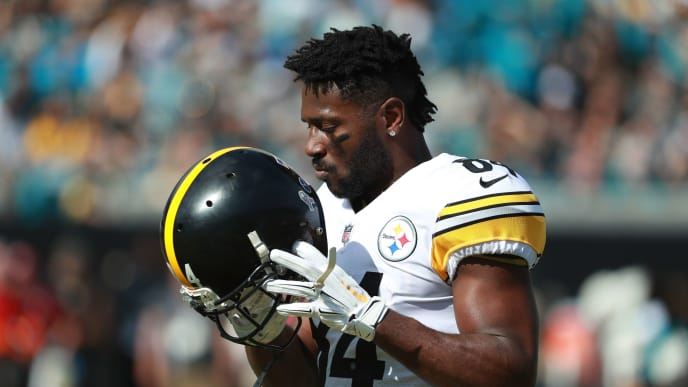 JACKSONVILLE, FL - NOVEMBER 18:  Antonio Brown #84 of the Pittsburgh Steelers waits on the field before their game against the Jacksonville Jaguars at TIAA Bank Field on November 18, 2018 in Jacksonville, Florida.  (Photo by Scott Halleran/Getty Images)