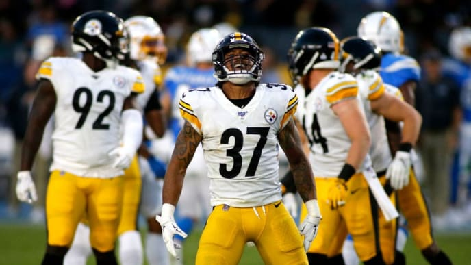 CARSON, CALIFORNIA - OCTOBER 13:  Defensive back Jordan Dangerfield #37 of the Pittsburgh Steelers reacts during a game against the Los Angeles Chargers at Dignity Health Sports Park on October 13, 2019 in Carson, California. (Photo by Katharine Lotze/Getty Images)