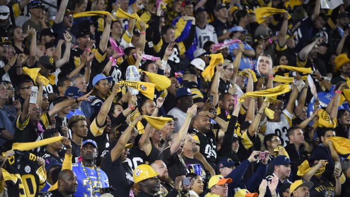 CARSON, CA - OCTOBER 13:  Fans cheer as the Los Angeles Chargers take on the Pittsburgh Steelers look in the first quarter at Dignity Health Sports Park October 13, 2019 in Carson, California. (Photo by Denis Poroy/Getty Images)