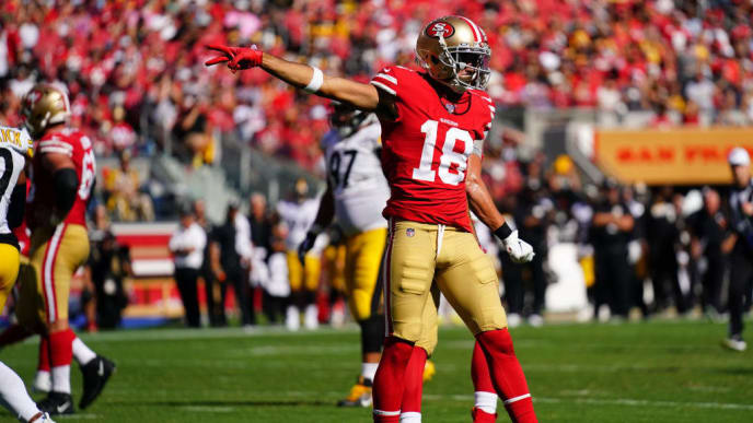 SANTA CLARA, CALIFORNIA - SEPTEMBER 22: Dante Pettis #18 of the San Francisco 49ers reacts to gaining a first down during the second half against the Pittsburgh Steelers at Levi's Stadium on September 22, 2019 in Santa Clara, California. (Photo by Daniel Shirey/Getty Images)