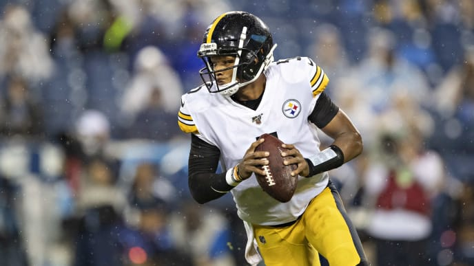 NASHVILLE, TN - AUGUST 17:  Joshua Dobbs #5 of the Pittsburgh Steelers rolls out to pass against the Tennessee Titans during week three of preseason at Nissan Stadium on August 25, 2019 in Nashville, Tennessee. The Steelers defeated the Titans 18-6. (Photo by Wesley Hitt/Getty Images)