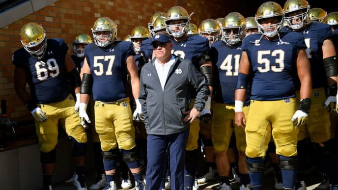 SOUTH BEND, IN - OCTOBER 13: Notre Dame Fighting Irish head coach Brian Kelly stands in the tunnel in front of his team before the game against the Pittsburgh Panthers at Notre Dame Stadium on October 13, 2018 in South Bend, Indiana.  (Photo by Quinn Harris/Getty Images)