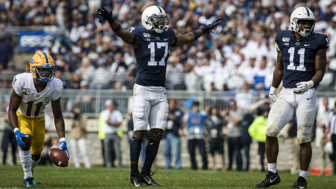 STATE COLLEGE, PA - SEPTEMBER 14: Garrett Taylor #17 of the Penn State Nittany Lions reacts in front of Taysir Mack #11 of the Pittsburgh Panthers during the second half at Beaver Stadium on September 14, 2019 in State College, Pennsylvania. (Photo by Scott Taetsch/Getty Images)