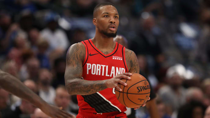 DALLAS, TEXAS - OCTOBER 27:  Damian Lillard #0 of the Portland Trail Blazers at American Airlines Center on October 27, 2019 in Dallas, Texas. NOTE TO USER: User expressly acknowledges and agrees that, by downloading and or using this photograph, User is consenting to the terms and conditions of the Getty Images License Agreement.  (Photo by Ronald Martinez/Getty Images)