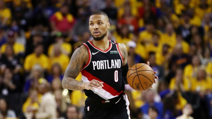 OAKLAND, CALIFORNIA - MAY 14: Damian Lillard #0 of the Portland Trail Blazers handles the ball during the second half against the Golden State Warriors in game one of the NBA Western Conference Finals at ORACLE Arena on May 14, 2019 in Oakland, California. NOTE TO USER: User expressly acknowledges and agrees that, by downloading and or using this photograph, User is consenting to the terms and conditions of the Getty Images License Agreement. (Photo by Ezra Shaw/Getty Images)