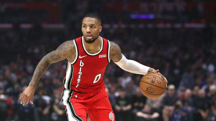 LOS ANGELES, CALIFORNIA - NOVEMBER 07:  Damian Lillard #0 of the Portland Trail Blazers dribbles the ball during the first half of a game against the Los Angeles Clippers at Staples Center on November 07, 2019 in Los Angeles, California. NOTE TO USER: User expressly acknowledges and agrees that, by downloading and/or using this photograph, user is consenting to the terms and conditions of the Getty Images License Agreement (Photo by Sean M. Haffey/Getty Images)