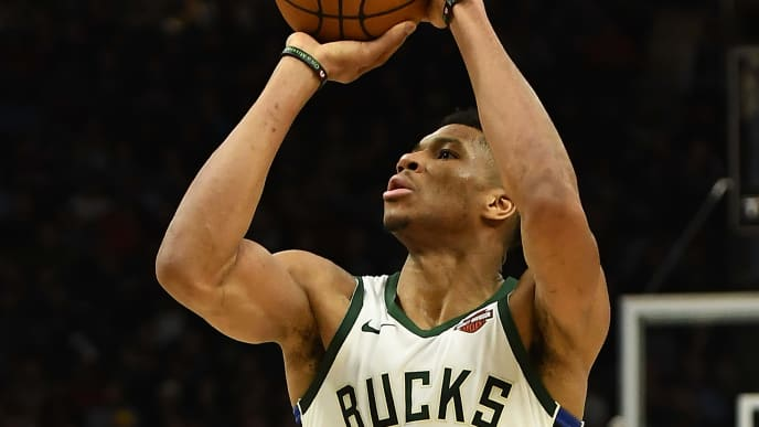 MILWAUKEE, WISCONSIN - NOVEMBER 21: Giannis Antetokounmpo #34 of the Milwaukee Bucks takes a shot during the second half of a game against the Portland Trail Blazers at Fiserv Forum on November 21, 2019 in Milwaukee, Wisconsin. NOTE TO USER: User expressly acknowledges and agrees that, by downloading and or using this photograph, User is consenting to the terms and conditions of the Getty Images License Agreement. (Photo by Stacy Revere/Getty Images)