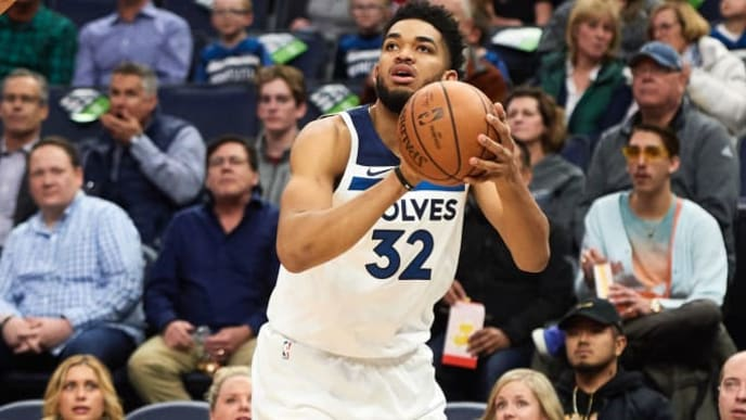 MINNEAPOLIS, MN - APRIL 01: Karl-Anthony Towns #32 of the Minnesota Timberwolves shoots the ball against the Portland Trail Blazers during the game on April 1, 2019 at the Target Center in Minneapolis, Minnesota. NOTE TO USER: User expressly acknowledges and agrees that, by downloading and or using this Photograph, user is consenting to the terms and conditions of the Getty Images License Agreement. (Photo by Hannah Foslien/Getty Images)