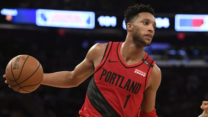 NEW YORK, NEW YORK - NOVEMBER 20: Evan Turner #1 of the Portland Trail Blazers dribbles down the court during the third quarter of the game against New York Knicks at Madison Square Garden on November 20, 2018 in New York City. NOTE TO USER: User expressly acknowledges and agrees that, by downloading and or using this photograph, User is consenting to the terms and conditions of the Getty Images License Agreement. (Photo by Sarah Stier/Getty Images)