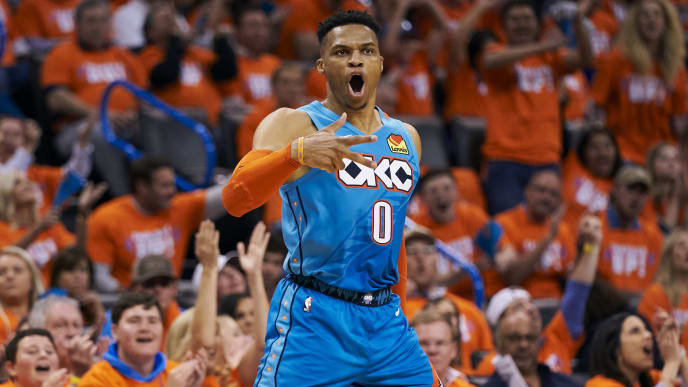 OKLAHOMA CITY, OKLAHOMA - APRIL 19: Russell Westbrook #0 of the Oklahoma City Thunder reacts after a made basket against the Portland Trail Blazers during the second half of game three of the Western Conference quarterfinals at Chesapeake Energy Arena on April 19, 2019 in Oklahoma City, Oklahoma. NOTE TO USER: User expressly acknowledges and agrees that, by downloading and or using this photograph, User is consenting to the terms and conditions of the Getty Images License Agreement.  (Photo by Cooper Neill/Getty Images)