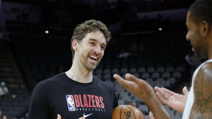 SAN ANTONIO,TX - OCTOBER 28: Pau Gasol #16 of the Portland Trailblazers greets LaMarcus Aldridge #12 of the San Antonio Spurs before the start of their game at AT&T Center on October 28, 2019 in San Antonio, Texas.  NOTE TO USER: User expressly acknowledges and agrees that , by downloading and or using this photograph, User is consenting to the terms and conditions of the Getty Images License Agreement. (Photo by Ronald Cortes/Getty Images)