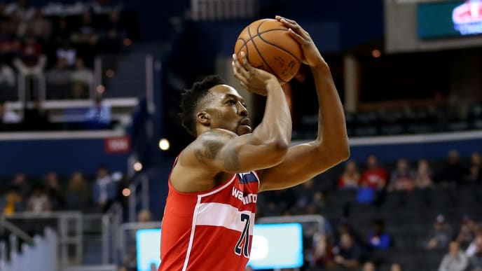 WASHINGTON, DC - NOVEMBER 18: Dwight Howard #21 of the Washington Wizards shoots against the Portland Trail Blazers during the first half at Capital One Arena on November 18, 2018 in Washington, DC. NOTE TO USER: User expressly acknowledges and agrees that, by downloading and or using this photograph, User is consenting to the terms and conditions of the Getty Images License Agreement. (Photo by Will Newton/Getty Images)