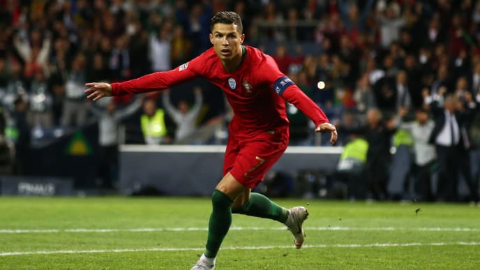 PORTO, PORTUGAL - JUNE 05:  Cristiano Ronaldo of Portugal celebrates after scoring his team's second goal during the UEFA Nations League Semi-Final match between Portugal and Switzerland at Estadio do Dragao on June 05, 2019 in Porto, Portugal. (Photo by Jan Kruger/Getty Images)