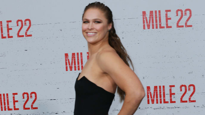 "WESTWOOD, CA - AUGUST 09:  Ronda Rousey attends the Premiere Of STX Films' ""Mile 22"" at Westwood Village Theatre on August 9, 2018 in Westwood, California.  (Photo by Leon Bennett/Getty Images)"