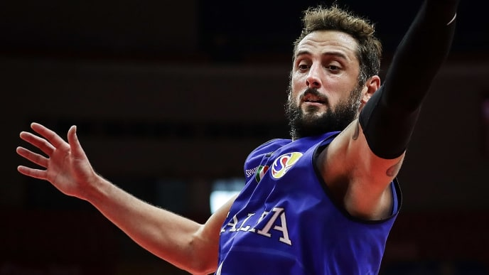 WUHAN, CHINA - SEPTEMBER 08:  Marco Belinelli #3 of Italy in action against Puerto rico during FIBA Basketball World Cup China 2019 at Wuhan Sports Center on September 08 , 2019 in Wuhan, China.  (Photo by Wang He/Getty Images)