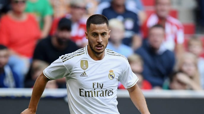 MUNICH, GERMANY - JULY 30: Eden Hazard of Real Madrid controls the ball during the Audi cup 2019 semi final match between Real Madrid and Tottenham Hotspur at Allianz Arena on July 30, 2019 in Munich, Germany. (Photo by Matthias Hangst/Bongarts/Getty Images)