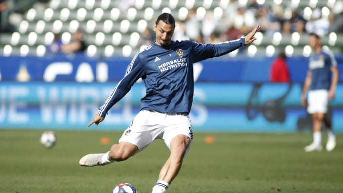 CARSON, CALIFORNIA - APRIL 28:   Zlatan Ibrahimovic #9 of Los Angeles Galaxy takes a shot on goal during a warm up ahead of a game against Real Salt Lake at Dignity Health Sports Park on April 28, 2019 in Carson, California. (Photo by Katharine Lotze/Getty Images)