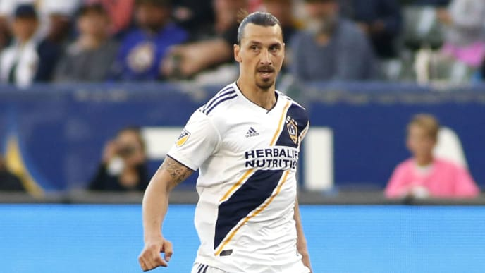 CARSON, CALIFORNIA - APRIL 28:   Zlatan Ibrahimovic #9 of Los Angeles Galaxy takes the ball down the field during a game against Real Salt Lake at Dignity Health Sports Park on April 28, 2019 in Carson, California. (Photo by Katharine Lotze/Getty Images)
