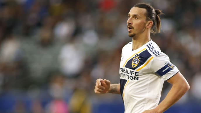 CARSON, CALIFORNIA - APRIL 28:   Zlatan Ibrahimovic #9 of Los Angeles Galaxy looks on during a game against Real Salt Lake at Dignity Health Sports Park on April 28, 2019 in Carson, California. (Photo by Katharine Lotze/Getty Images)