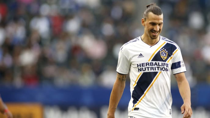 CARSON, CALIFORNIA - APRIL 28:   Zlatan Ibrahimovic #9 of Los Angeles Galaxy walks down the field during a game against Real Salt Lake at Dignity Health Sports Park on April 28, 2019 in Carson, California. (Photo by Katharine Lotze/Getty Images)