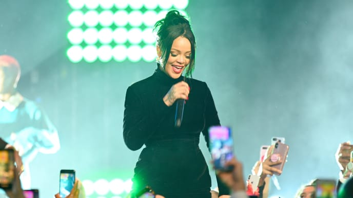 NEW YORK, NEW YORK - SEPTEMBER 12: Rihanna performs onstage during Rihanna's 5th Annual Diamond Ball Benefitting The Clara Lionel Foundation at Cipriani Wall Street on September 12, 2019 in New York City. (Photo by Dave Kotinsky/Getty Images for Diamond Ball)