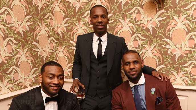 NEW ORLEANS, LA - FEBRUARY 18:  (L-R) John Wall, CEO of Klutch Sports Group Rich Paul and LeBron James attend the Rémy Martin and Klutch Sports Group toast their All Stars event on February 18, 2017 in New Orleans, Louisiana.  (Photo by Erika Goldring/Getty Images for Remy Martin)