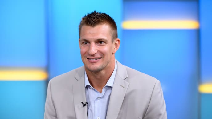 """NEW YORK, NEW YORK - SEPTEMBER 10: Rob Gronkowski visits """"FOX & Friends"""" at Fox News Channel Studios on September 10, 2019 in New York City. (Photo by Noam Galai/Getty Images)"""