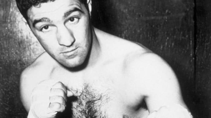 Heavyweight champion boxer Rocky Marciano (1923 - 1969), circa 1950.    (Photo by Keystone/Getty Images)