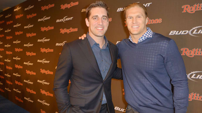 NEW ORLEANS, LA - FEBRUARY 01:  Professional football players Aaron Rodgers (L) and Clay Matthews arrive at the Rolling Stone LIVE party held at the Bud Light Hotel on February 1, 2013 in New Orleans, Louisiana.  (Photo by Gustavo Caballero/Getty Images for Rolling Stone)