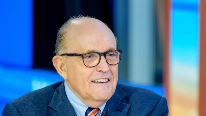 """NEW YORK, NEW YORK - SEPTEMBER 23: Former New York City Mayor and attorney to President Donald Trump Rudy Giuliani visits """"Mornings With Maria"""" with anchor Maria Bartiromo at Fox Business Network Studios on September 23, 2019 in New York City. (Photo by Roy Rochlin/Getty Images)"""