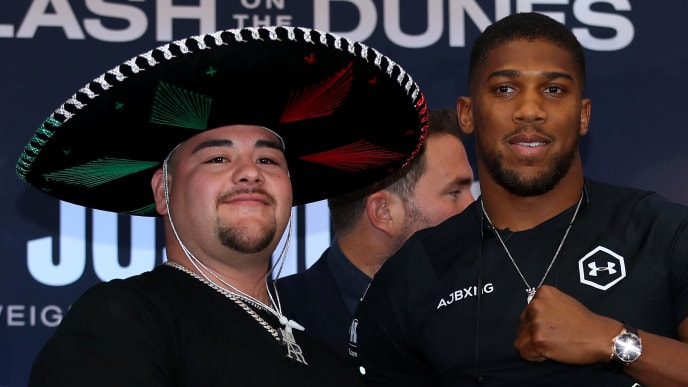 LONDON, ENGLAND - SEPTEMBER 06: Andy Ruiz Jr. and Anthony Joshua pose for a photo during the press conference for Ruiz v Joshua 2 'Clash on the Dunes' at the Hilton Syon Park on September 06, 2019 in London, England. Anthony Joshua and Andy Ruiz Jr will have a Heavyweight World Title rematch fight on December 7th 2019 in the historical town of Diriyah, Kingdom of Saudi Arabia. (Photo by Richard Heathcote/Getty Images)