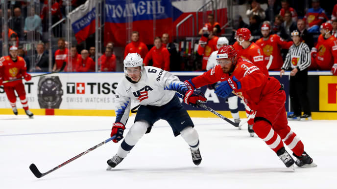 BRATISLAVA, SLOVAKIA - MAY 23: Dinar Khafizullin #3 of Russia challenges Jach Hughes #6 of United States during the 2019 IIHF Ice Hockey World Championship Slovakia quarter final game between Russia and United States at Ondrej Nepela Arena on May 23, 2019 in Bratislava, Slovakia. (Photo by Martin Rose/Getty Images)