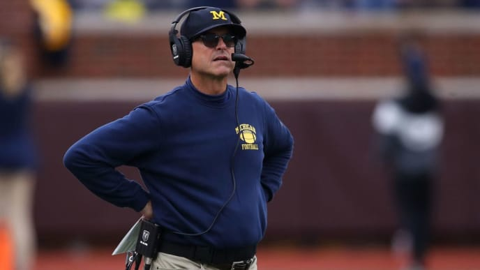 ANN ARBOR, MICHIGAN - SEPTEMBER 28: Head coach Jim Harbaugh of the Michigan Wolverines looks on in the first half while playing the Rutgers Scarlet Knights at Michigan Stadium on September 28, 2019 in Ann Arbor, Michigan. (Photo by Gregory Shamus/Getty Images)