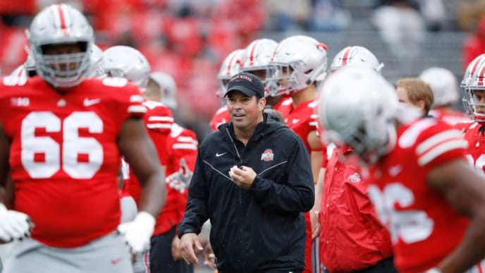 COLUMBUS, OH - SEPTEMBER 08: Acting head coach Ryan Day of the Ohio State Buckeyes looks on before the game against the Rutgers Scarlet Knights at Ohio Stadium on September 8, 2018 in Columbus, Ohio. (Photo by Joe Robbins/Getty Images)
