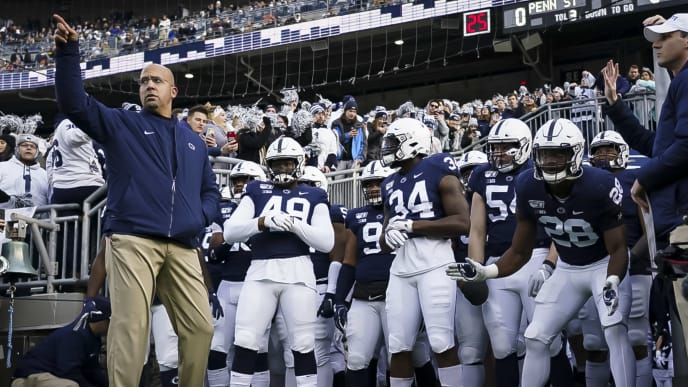 Penn State coach James Franklin leads team onto field vs Rutgers