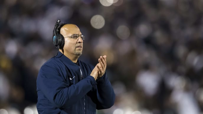 STATE COLLEGE, PA - NOVEMBER 30: Head coach James Franklin of the Penn State Nittany Lions reacts to a play during the second half of the game between the Penn State Nittany Lions and the Rutgers Scarlet Knights at Beaver Stadium on November 30, 2019 in State College, Pennsylvania. (Photo by Scott Taetsch/Getty Images)