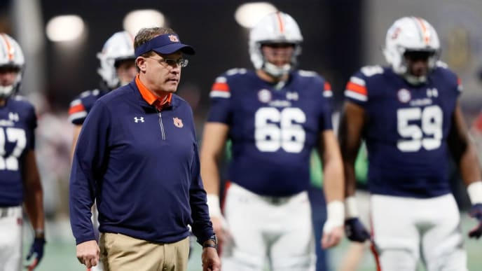 ATLANTA, GA - DECEMBER 02: Head coach Gus Malzahn of the Auburn Tigers on the field prior to the game against the Georgia Bulldogs in the SEC Championship at Mercedes-Benz Stadium on December 2, 2017 in Atlanta, Georgia. (Photo by Jamie Squire/Getty Images)