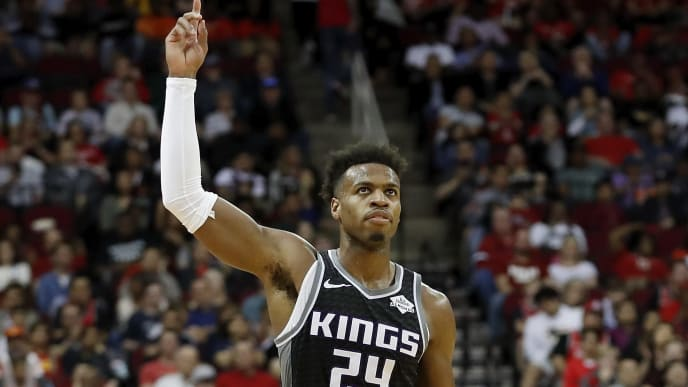 HOUSTON, TX - MARCH 30:  Buddy Hield #24 of the Sacramento Kings reacts in the second half against the Houston Rockets at Toyota Center on March 30, 2019 in Houston, Texas.  NOTE TO USER: User expressly acknowledges and agrees that, by downloading and or using this photograph, User is consenting to the terms and conditions of the Getty Images License Agreement.  (Photo by Tim Warner/Getty Images)