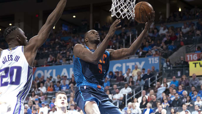 OKLAHOMA CITY, OK - OCTOBER 21: Jerami Grant #9 of the Oklahoma City Thunder shoots against the Sacramento Kings during the first half of a NBA  game at the Chesapeake Energy Arena on October 21, 2018 in Oklahoma City, Oklahoma. NOTE TO USER: User expressly acknowledges and agrees that, by downloading and or using this photograph, User is consenting to the terms and conditions of the Getty Images License Agreement. (Photo by J Pat Carter/Getty Images)