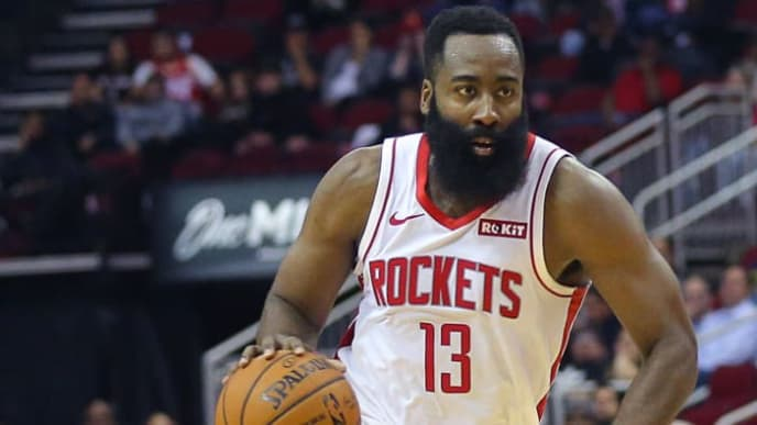 HOUSTON, TEXAS - OCTOBER 16: James Harden #13 of the Houston Rockets drives from the top of the key against the San Antonio Spurs during a preseason game at Toyota Center on October 16, 2019 in Houston, Texas. NOTE TO USER: User expressly acknowledges and agrees that, by downloading and/or using this photograph, user is consenting to the terms and conditions of the Getty Images License Agreement. (Photo by Bob Levey/Getty Images)