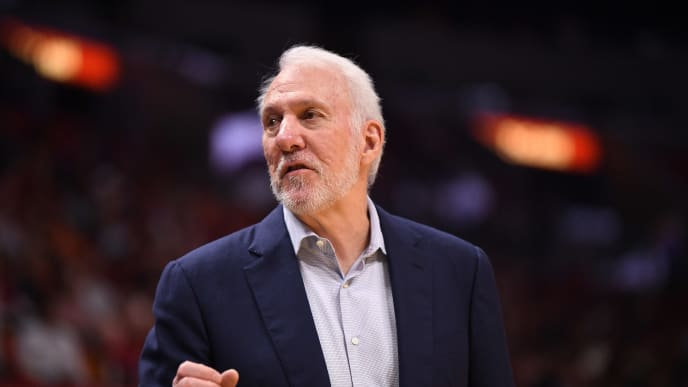 MIAMI, FLORIDA - OCTOBER 08: Gregg Popovich Head Coach of the San Antonio Spurs coaching against the Miami Heat during the second half of the preseason game at American Airlines Arena on October 08, 2019 in Miami, Florida. NOTE TO USER: User expressly acknowledges and agrees that, by downloading and or using this photograph, User is consenting to the terms and conditions of the Getty Images License Agreement. (Photo by Mark Brown/Getty Images)