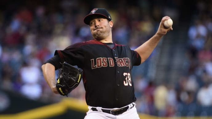 PHOENIX, ARIZONA - SEPTEMBER 28: Robbie Ray #38 of the Arizona Diamondbacks delivers a pitch in the first inning of the MLB game against the San Diego Padres at Chase Field on September 28, 2019 in Phoenix, Arizona. (Photo by Jennifer Stewart/Getty Images)