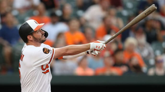 BALTIMORE, MARYLAND - JUNE 25: Trey Mancini #16 of the Baltimore Orioles bats against the San Diego Padres at Oriole Park at Camden Yards on June 25, 2019 in Baltimore, Maryland. (Photo by Patrick Smith/Getty Images)