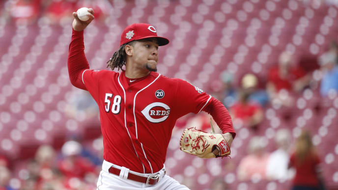 CINCINNATI, OH - AUGUST 21: Luis Castillo #58 of the Cincinnati Reds pitches in the first inning against the San Diego Padres at Great American Ball Park on August 21, 2019 in Cincinnati, Ohio. (Photo by Joe Robbins/Getty Images)