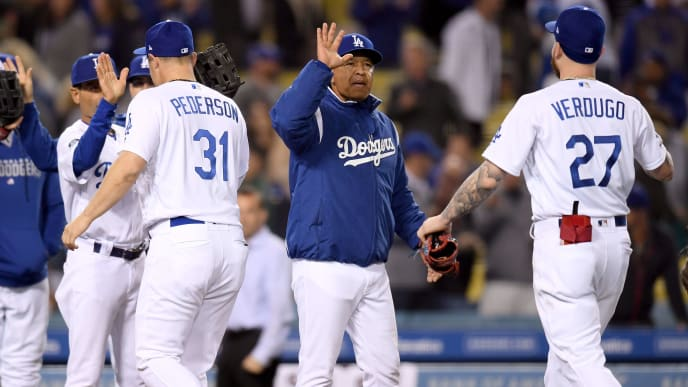 LOS ANGELES, CALIFORNIA - MAY 14:  Dave Roberts #30 of the Los Angeles Dodgers celebrates after a 6-3 win over the San Diego Padres at Dodger Stadium on May 14, 2019 in Los Angeles, California. (Photo by Harry How/Getty Images)